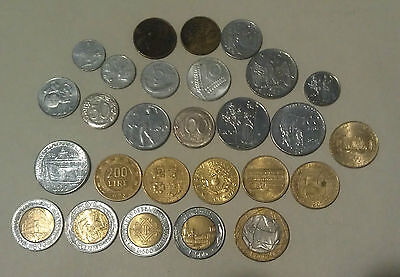 Italy 27 coins old & new many commemorative bi-metallic types up to 1000 Lire