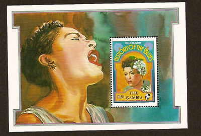 Gambia 1192 Billie Holiday - stamp souvenir sheet - issued 1992 - mint NH