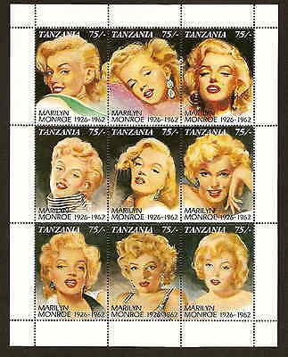 Tanzania 809 - Marilyn Monroe sheet of nine different stamps - issued 1992 - MNH