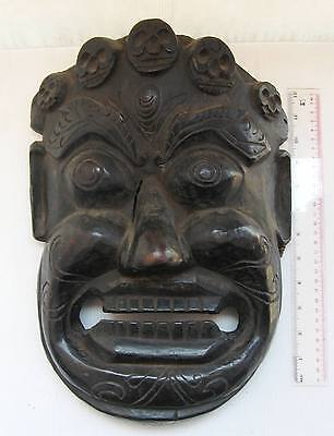 MAGNIFICENT Old Tibet Tibetan Wood Shaman Exorcism Mask Yama God of Death XL