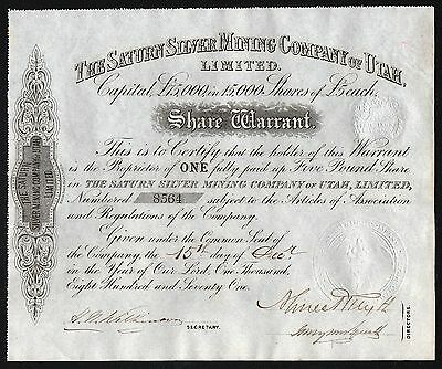 1871 The Saturn Silver Mining Company of Utah