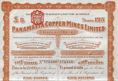 1902 Australien: Paramatta Copper Mines Limited, South Australia