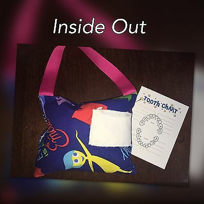 Disney Pixar INSIDE OUT Tooth Fairy Pillow W/ Pocket & Chart