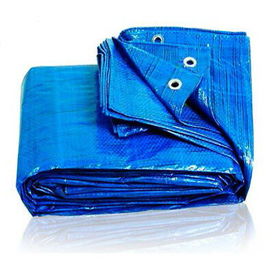 BLUE Waterproof Tarpaulin 100GSM Camping Car Cover Tarp Finished Sizes