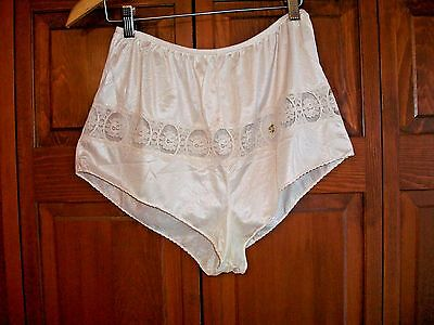 Lovely Vntg Sliperfection Silky Beige Brief Tap Panty~Lace Insert~Semi Sheer~L~