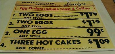 Old Isaly's Dairy Store Breakfast Specials Restaurant Menu Poster Repro