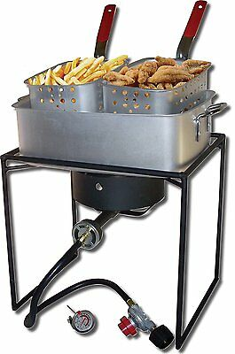 Deep Fryer Propane Gas Cooker Commercial Fry Outdoor 2 Basket French Fries Party