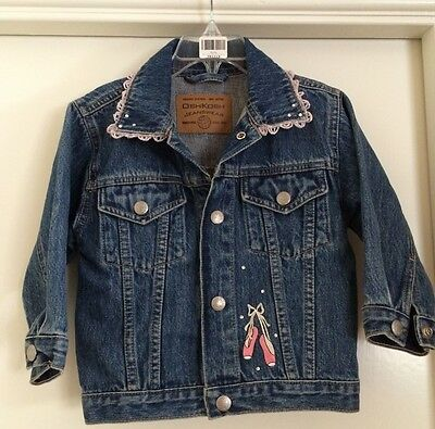 Vintage Denim Jacket Girls Size 24-months Ballet Shoes Little Dancer Size 2