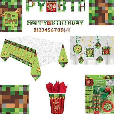 TNT Party! Pixel Birthday Party Tableware & Decorations - Minecraft Inspired!