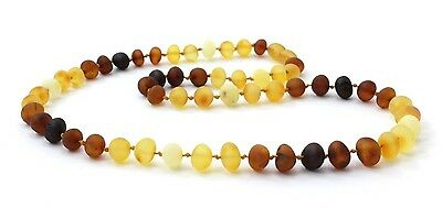 """Raw Amber Adult Necklace, Modern Rainbow Color, 17.7"""" (45 cm), TipTopEco"""