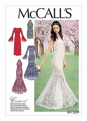 M7569 Sewing Pattern Women Special Occasion Prom Mermaid Dress Size 6-14