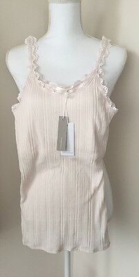 Skin Cotton Tank Top Sleepwear Ribbed Lace Jersey Powder Pink Blush  $68 Size 2