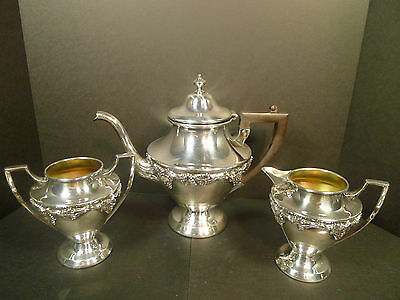 Vintage Art Nouveau Benedict Silverplate Grapevine Teapot & Cream & Sugar Set