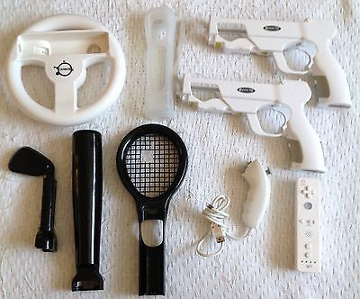 Wii Accessory Bundle - Wii Mad catz Controller And Numchuck - Wheel - Gun