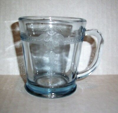 "Fire King Philbe Sapphire Blue Ovenware ""d"" Handle Mug/cup Marked Anchor Hocking"