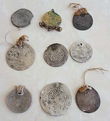 Lot of 9 Old Vintage Ottoman Coins Arabic Silver Dress Decorations
