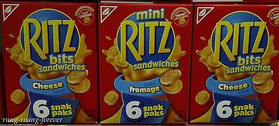 3 Boxes Ritz Sandwiches Cheese Crackers Snack Pack 180g
