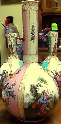 LARGE 19th C DRESDEN HAND PAINTED BOTTLE VASE AUGUSTUS REX c1880 12.5 inches