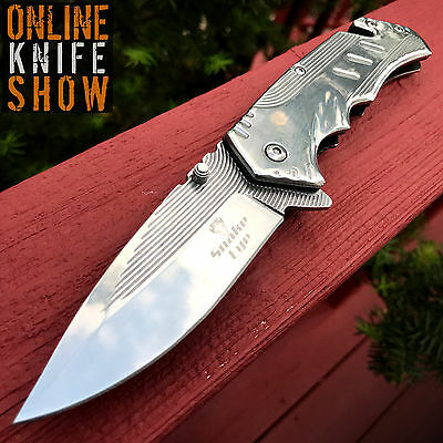 Viper Tactical Combat Sharp Blade Spring Assisted Open Pocket Knife Silver EDC