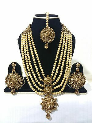 New Indian Bollywood Costume Jewellery Necklace Set Earrings Pearl Gold Bronze