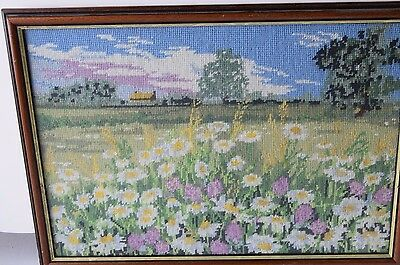 Framed Handmade Needlepoint Tapestry Flowers Meadow Landscape Country Picture