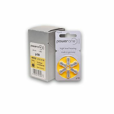 Power One Zinc Air Hearing Aid Batteries (Yellow) Size 10 Pack of 60