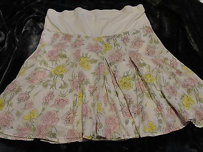Nice Size M OH BABY by MOTHERHOOD Maternity White/Pink Floral Knee Length Skirt