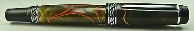 Hand crafted Chrome Olympian II Elite Fountain Pen with Lava Acrylic Pen Blank