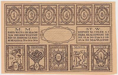1918 Wwi Poland Warszawa Warsaw Occupation Food Stamps Bread Matzah Judaica Rare