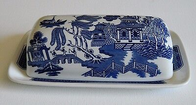 Churchill Blue Willow Butter Dish Made in Shaffordshire England