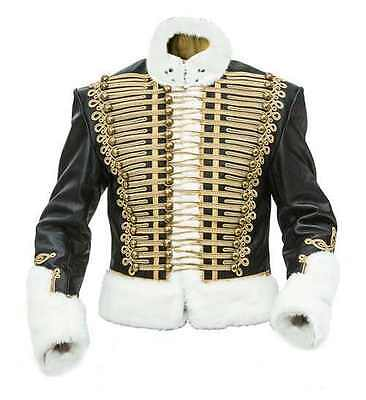 Napoleonic and Crimean Pelisse - gold frogging white faux fur - made to order