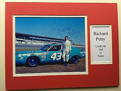 """NASCAR Richard Petty Signed 16"""" X 12"""" Double Mounted Display"""