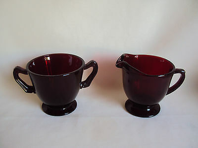 Vintage Ruby Red Glass Creamer And Sugar Cups Set
