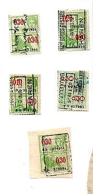 Belgium - 5 used Fiscal stamps
