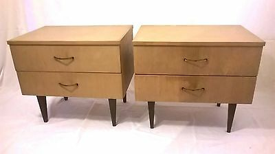 Pair of vintage nightstands,mid century modern,bedside tables 1965 Oak Mahogany
