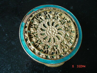 Old French perfume pill rouge vanity Compact POWDER BOX beveled mirror Guilloche