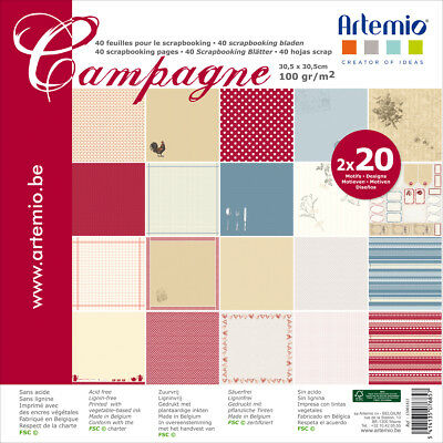 "Artemio Single Sided Paper Pad 12""X12"" 40/Pkg Campagne, 20 Designs/2 Each 110018"