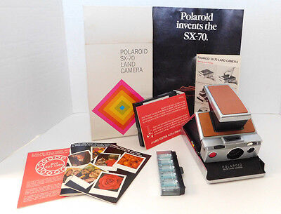 Polaroid SX-70 Land Instant Camera Vintage with Box, Booklets & Flash