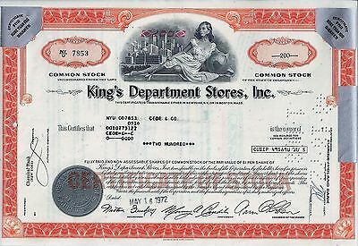 King´s Department Stores Inc., Delaware, 1972 (200 Shares)