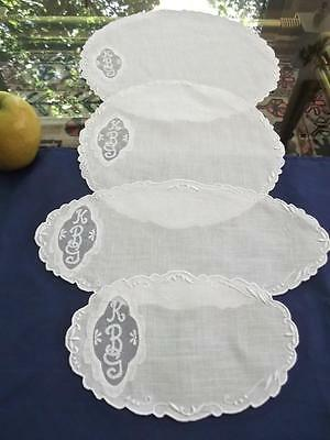 Set of 4 Antique Madeira White Linen Vanity Doilies Organdy Insert Monogram KBG