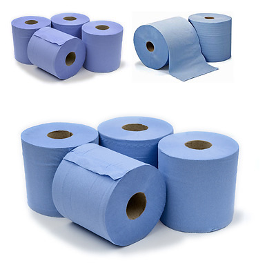 6 x Workshop Hand Towels Rolls 2 Ply Centre feed Rolls Wipes £7.99
