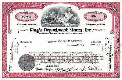 King´s Department Stores Inc., Delaware, 1966 (50 Shares)