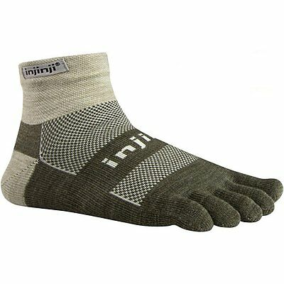 Injinji Outdoor Midweight Mini-Crew Toe Socks- NuWool Oatmeal-XL(Torn Package)