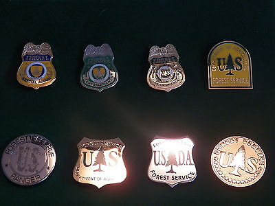 US Forest Service Collector Pins - Set of 8 w/ Display Box