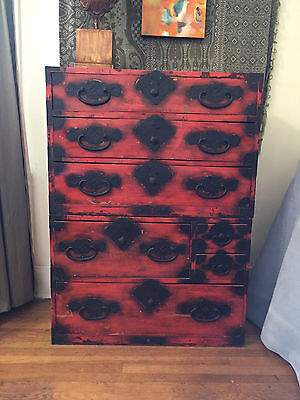 Antique Japanese Red Lacquer Kiri Tansu Chest Early 20Th Century