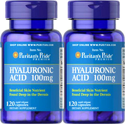 2X Puritan's Pride Hyaluronic Acid 100mg, 240 Caps, Lubricate Joint + Bonus