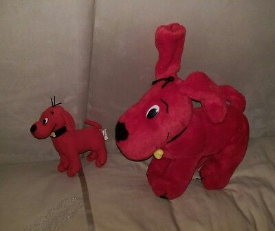 Lovely condition CLIFFORD the big red dog soft toy x2, 30+13cm