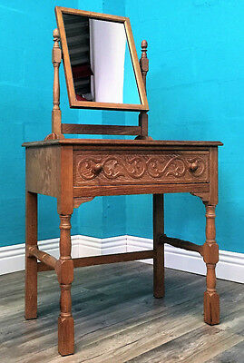 Quality Antique Solid Limed Oak Dressing Table C1950