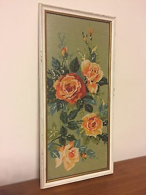 Vintage Floral Framed Tapestry Retro Shabby Chic 50s 60s 70s Flowers Mid Century