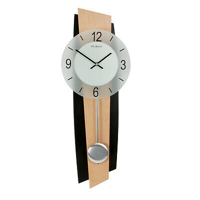 Beech & Black Pendulum Wood & Glass Wall Clock